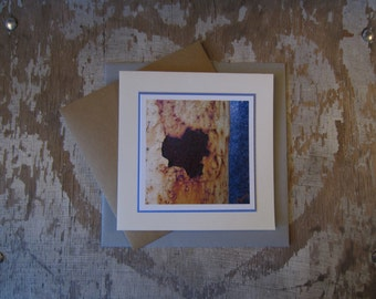 Rusted Heart, handmade, greeting card, blank, square, photo