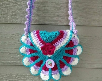 Small purse crochet bag girl with shoulder strap, pouch lined in jersey, white, turquoise and pink, round bag
