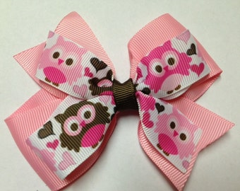 """4"""" pink brown love owl hair bow birthday party ott stacked baby toddler hairbow clip teen adult hair clip birthday back to school hot pink"""
