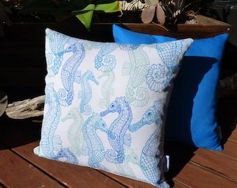 OUTDOOR cushions | decorative pillow cover, seahorses, sealife, coastal, ocean, beach, Australian shop