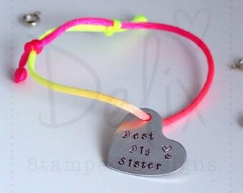 Big sister bracelet, hand stamped, rainbow
