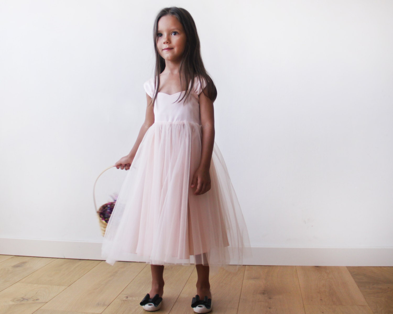 Girls bow blush dress Pink flower girl fancy dress by Blushingirls
