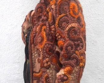 Knit jacket, crochet jacket multicolor, brown beige tints, warm jacket from wool, jacket for autumn ,winter, spring