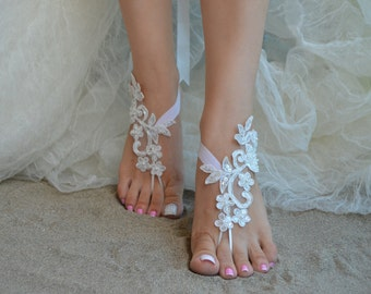 Flexible wrist lace sandals White ivory lace barefoot sandals Beach wedding barefoot sandals, barefoot, ivory barefoot sandals, sandal