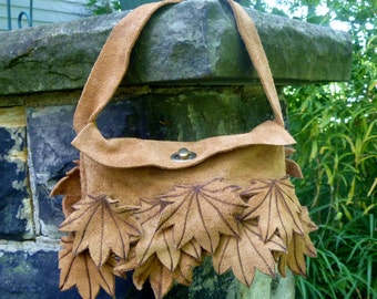 Suede Purse with Fall Maple Leaves