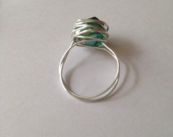 Wire Wrapped Bead Ring Teal