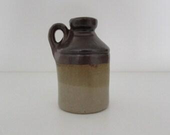 Handmade slipcast small bottle - Brown/Tan/Cream