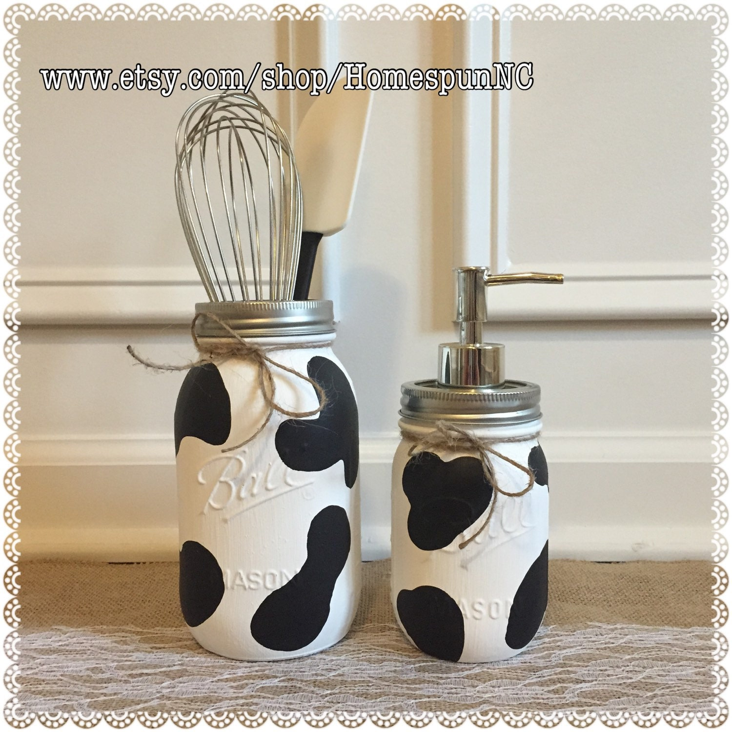 Cow print mason jar kitchen decor set kitchen decor by for Kitchen jar decoration