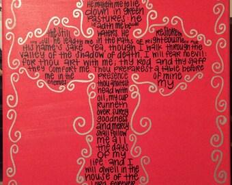 Psalm 23 Cross Canvas