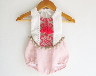 Pink/ Fuchsia Baby Girl Romper/ Linen Boho Chic Sunsuit/ Baby Clothes/ Pom Pom/ First Birthday Outfit / Size NB-6years