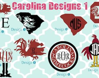 USC Gamecocks vinyl decals - monogram decals - monogrammed decals - Gamecocks - Gamecock - South Carolina