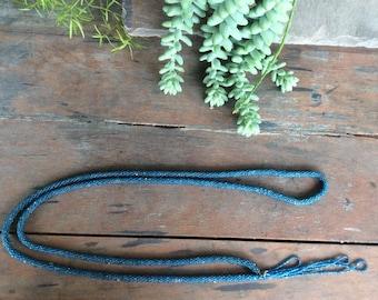 Vintage Soft Blue Glass Bead 1920's Flapper Necklace