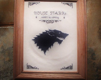 Game of Thrones' House Stark Banner Cross Stitch