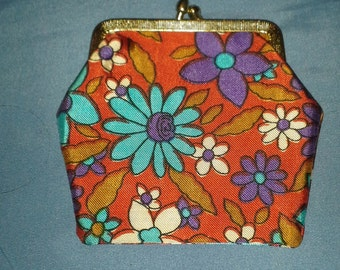 Vintage Colorful Flowered Change Purse