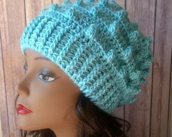 Crochet Aqua Blue Slouch Beanie