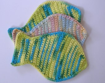 Crocheted Fish Dishcloths - Multicolored Yellow Green Blue Brown - Seashore Themed Kitchen