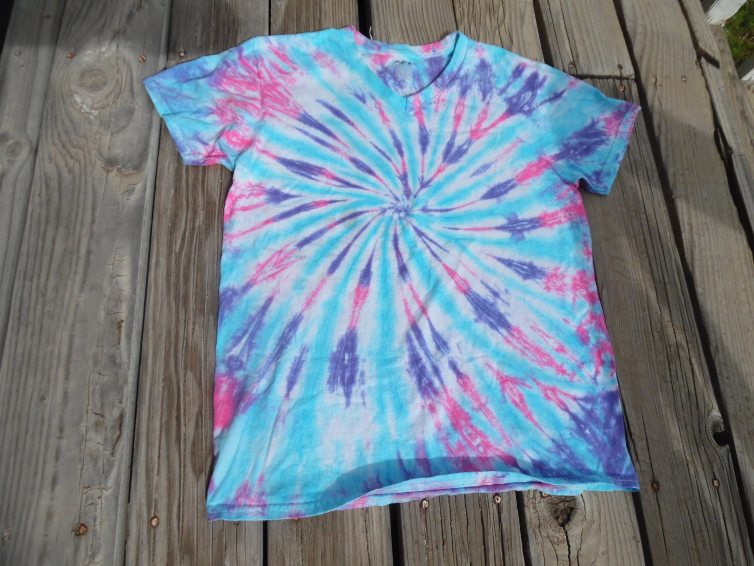 tie dye shirt made to order in blue purple pink and white. Black Bedroom Furniture Sets. Home Design Ideas