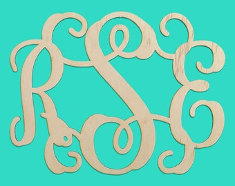 "3 Initial Wood Monogram. Unfinished Wood. Availiable 14"" or 18"""