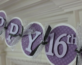 Purple and Silver Birthday Banner, Sweet Sixteen Birthday Banner; Girl Birthday Banner, wedding shower decor, baby shower decor