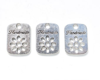 12 Handmade Tags - Gift Tag - Silver Charms - Holiday Gift Tag - Christmas Gift Tag - Birthday Gift Tag - Hand Made Gift Tag  SC539