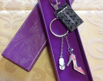 Diamante Hangbag Chain - Pink/White Shoes