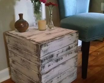 Rustic, Distressed Side Table, Square Closed End Table, Nightstand Table, Home Decor, Nightstand