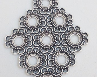 1x silver filigree pendant, 6,5 cm charm, flower findings supplies, necklace