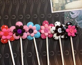 12 Bright and Detailed PVC Flowers and Felt Flowers with buttons Cupcake toppers
