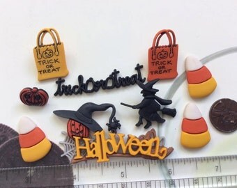 SET of 8 Trick Or Treat Halloween Buttons and Flatbacks