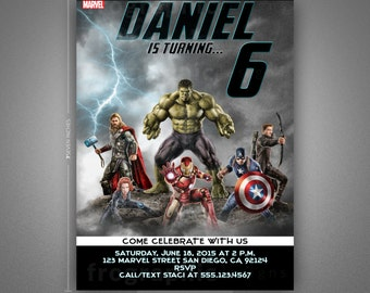 Avengers Birthday Invitation-Thank You Card-Poster-Movie Poster Inspired