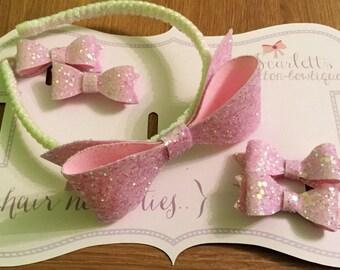 Glitter bow headband set