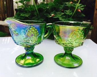 Vintage Carnival Glass Sugar and Cream Set / Sugar and Creamer Set Grape Leaves Design/Vintage Green Glass