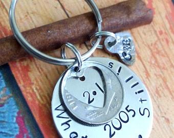 10 Year Anniversary Keychain,10 Year Anniversary Gift,Dime Keychain,Hand stamped Keychain,Personalized Keychain,Decade Keychain,2005,2006