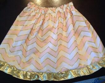 Chevron skirt w metallic gold Ribbon
