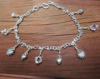 Hearts & Crystal Anklet