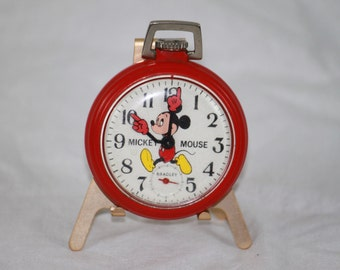 Vintage 1970's Bradley Red Mickey Mouse Pocket Watch