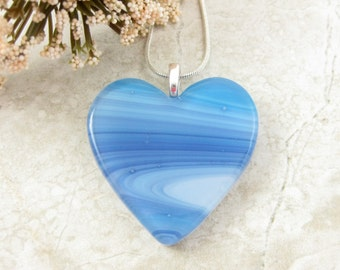 Blue Swirled Glass Heart Pendant -  Fused Glass Heart Jewelry