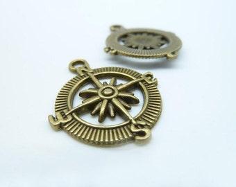 20pcs Compass Charms - Antique Bronze Compass Charm Pendants 25mm C954