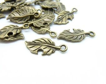 50pcs Leaf  charms- Antique Bronze Leaf Charm Leaves Charm Pendants 10x22mm C6001