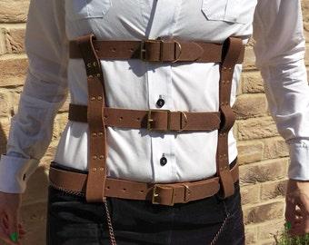 EXHALE / / Genuine Brown Leather Three Strap Underbust Waist Cage Harness (steampunk, fetish, goth)