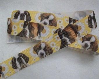 "Saint Bernard Dog Breed Grosgrain Ribbon 7/8"""