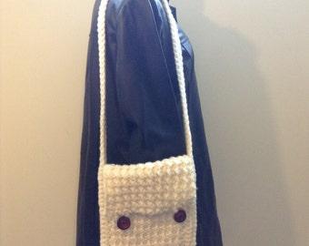 Purse, Boho, original design, off-white, handmade crochet