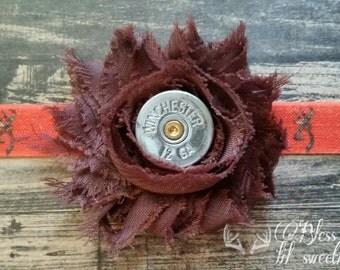 Browning headband - hunter headband - bullet jewlery - shotgun shell - spent round headband - Fall headband