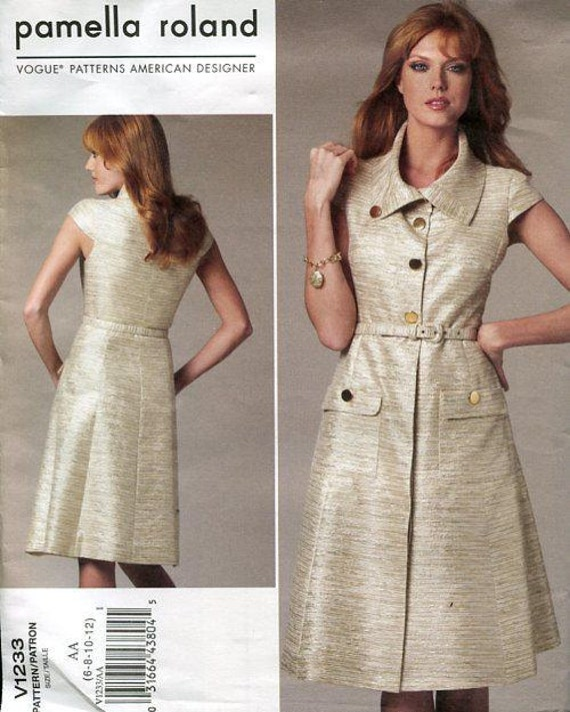 FREE US SHIP Vogue 1233 Pamella Rolland Cap Sleeve Shirtwaist Dress 2011  Sewing Pattern Out of Print Designer Size 6 12 14 20 da3dbcd95