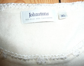 Vtg 90's Johnstons silk and cashmere  top vest sweater beige Size XL