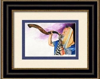 Shofar II **Original Watercolour Jewish wall art hanging home decor
