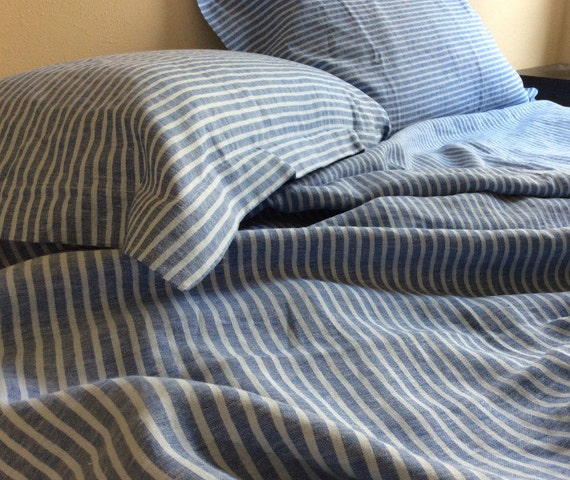 Natural Linen Ticking Blue Stripe Duvet By