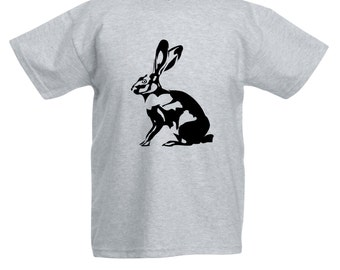 Kids Rabbit Bunny T-Shirt / Childrens Hare Animal T Shirt in Pink, Grey, Light Blue, Yellow, Orange / Ages: 3-4, 5-6, 7-8, 9-11, 12-13