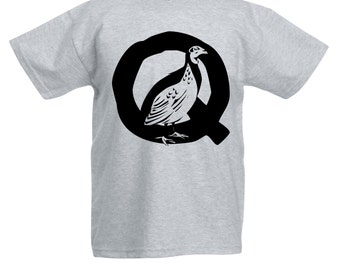 Kids Q is for Quail T-Shirt / Childrens Bird A-Z Alphabet T Shirt in Black, Grey, Pink, Yellow, Blue / Age: 3-4, 5-6, 7-8, 9-11, 12-13