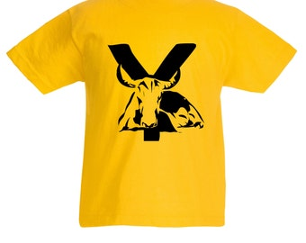 Kids Y is for Yak T-Shirt / Childrens Animal A-Z Alphabet T Shirt in Black, Grey, Pink, Yellow, Blue  Age 3-4, 5-6, 7-8, 9-11, 12-13